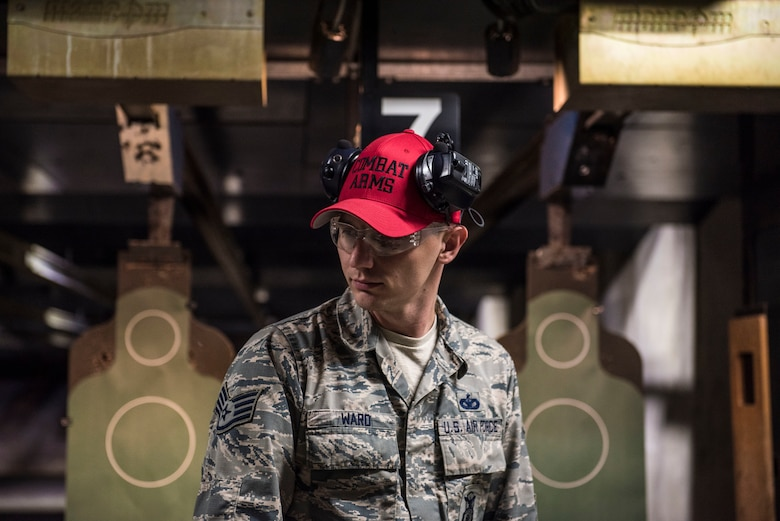 U.S. Air Force Staff Sgt. David Ward, 20th Security Forces Squadron combat arms instructor, oversees students at the firing range at Shaw Air Force Base, S.C., Aug. 22, 2018.