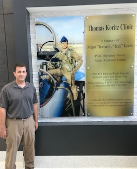 "USACE Project Engineer Terry Brooks (pictured) oversaw construction on the new Thomas F. ""Teek"" replacement clinic at Seymour Johnson Air Force Base, North Carolina. Brooks' efforts also led to the creation of a memorial wall honoring Koritz' sacrifice as a flight surgeon and pilot."