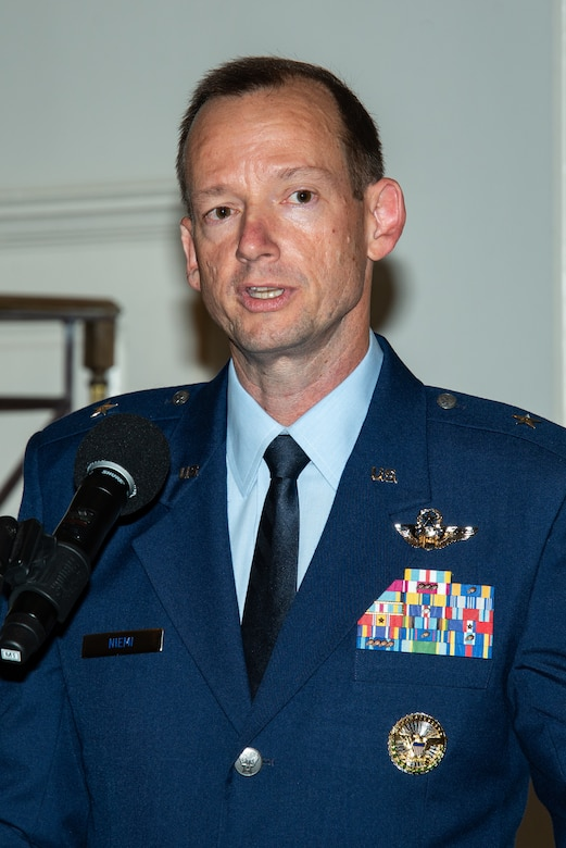 Maxwell AFB, Ala. - Brigadier General Christopher J. Niemi, commander of the Jeanne M. Holm Center for Officer Accessions and Citizen Development makes remarks during his change of command ceremony, August 23, 2018. As head of the Air Force's largest officer accessioning source, Niemi leads more than 3,200 Airmen and is responsible for the training and development of 163,000 cadets at 2,140 global locations. (US Air Force photo by Melanie Rodgers Cox)