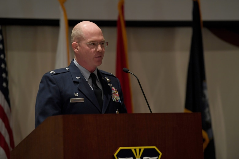 Col. Troy L. Endicott, 460th Space Wing commander, highlights the importance of remembering the heritage of the military and honoring those who served their nation during the Retiree Appreciation Day event at Buckley Air Force Base, Colorado, Aug. 25, 2018.
