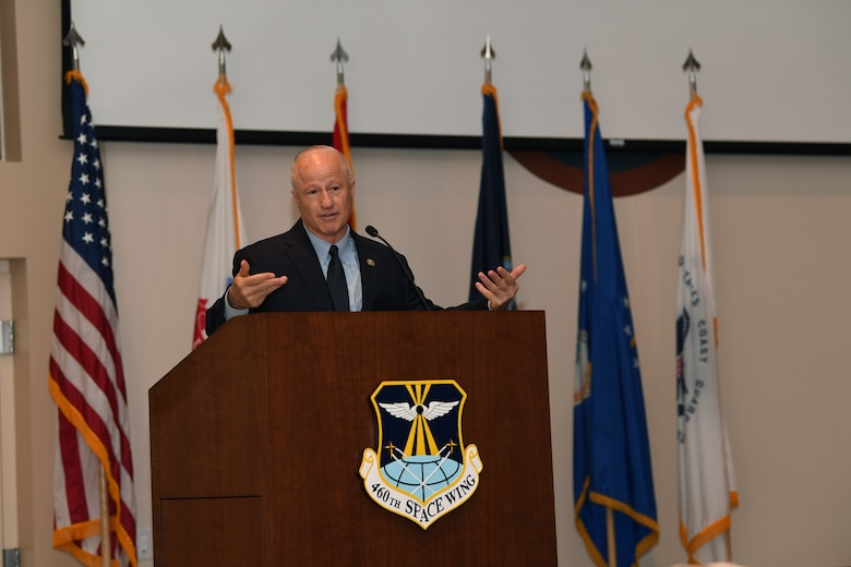 Congressman Mike Coffman, U.S. Representative for Colorado's 6th congressional district, shares his history of service then addresses concerns from the audience during the Retiree Appreciation Day event at Buckley Air Force Base, Colorado, Aug. 25, 2018.