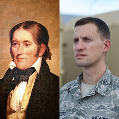 U.S. Air National Guard Master Sgt. Davy Crockett, 132d Medical Group laboratory NCOIC, shares a resemblance with his ancestor Davy Crockett's 1834 painting by Chester Harding.