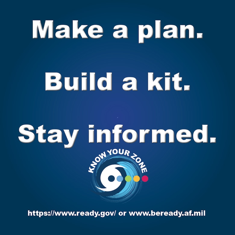Make a plan, build a kit, and stay informed, is the preparedness triad benchmark that Joint Base Langley-Eustis Emergency Management specialists want JBLE populace to achieve this National Preparedness Month. National Preparedness Month is an annual, month-long series of activities to drive awareness about hazards specific to local communities. (U.S. Air Force graphic by Senior Airman Ericha Guyote)