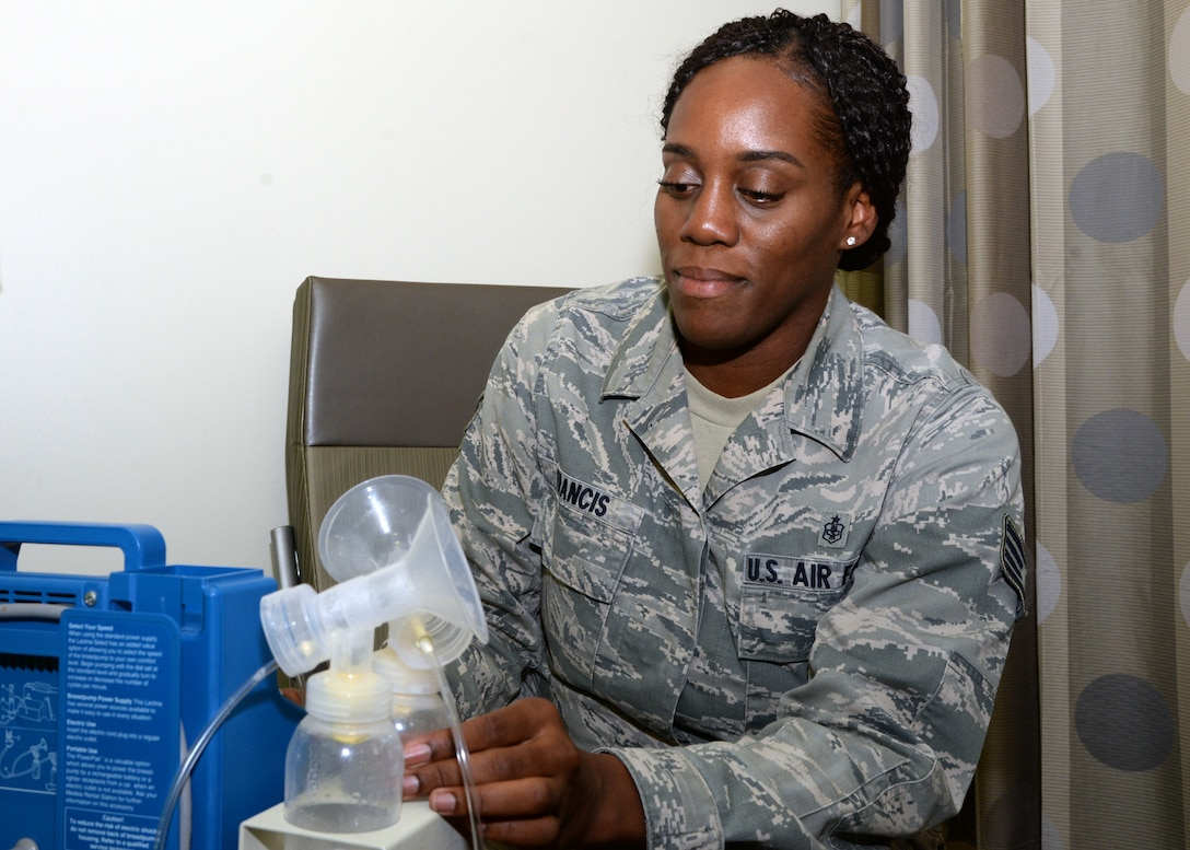 Staff Sgt. Melishia Francis, the non-commissioned officer in charge of the 59th Medical Wing's Commander's Action Group, prepares her breast pump equipment at one of the lactation rooms in Wilford Hall Ambulatory Surgical Center on Joint Base San Antonio-Lackland. In addition to the rooms at WHASC, the wing has installed lactation rooms in the Reid Clinic, the Dunn Dental Clinic, and Air Force Post-Graduate Dental School. (U.S. Air Force photo by Daniel J. Calderón)