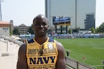 GLENDALE, Colo. – Navy Hospital Corpsman Cyprian Shimenga of Portsmouth, Va. stands if front of the pitch at 2018 Armed Forces Rugby Sevens Championship at Infinity Park, home of Rugbytown USA (Glendale, Colo.), Aug. 24-26, 2018. All Five Service branches are represented individually to compete in the 7th annual head-to-head competition. U.S. Navy photo by Mass Communication Specialist 2nd Class Tyler Caswell (Released).