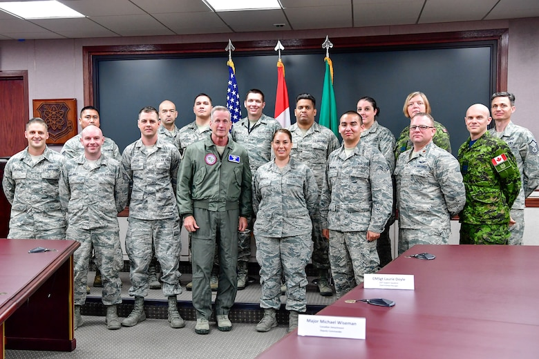 Gen. Terrence O'Shaughnessy, NORAD and USNORTHCOM commander, visits the Western Air Defense Sector, Joint Base Lewis-McChord, Washington Aug. 23, 2018.  O'Shaughnessy met with the WADS operations crew that provided command and control of the 142nd Fighter Wing's F-15 intercept of the Aug. 10 stolen Horizon Bombardier Q400 aircraft out of SeaTac International Airport. (U.S. Air National Guard photo by Maj. Kimberly D. Burke)