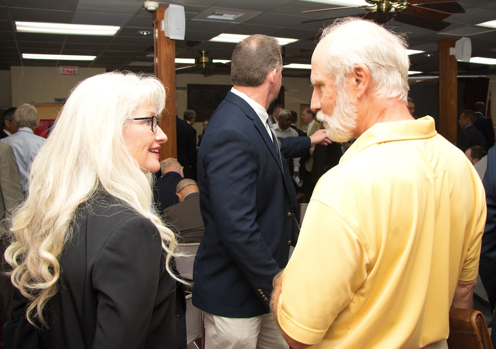 Dr. Norma J. Mattei, Mississippi River Commission member, speaks with partners and the public before the annual low-water inspection public hearing in Vicksburg, Mississippi, Aug. 22, 2018.