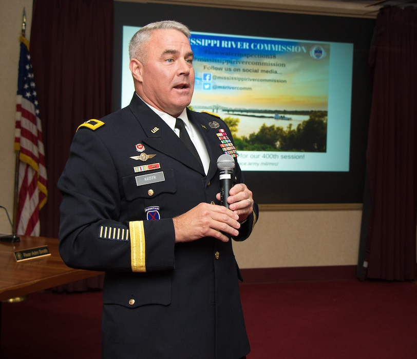 Maj. Gen. Richard Kaiser, Mississippi River Commission president, provides opening remarks during the annual low-water inspection public hearing in Vicksburg, Mississippi, Aug. 22, 2018.