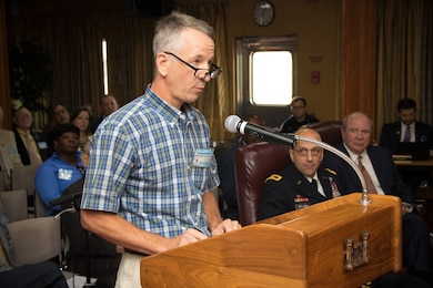 George Williams, with the Lake Mary Planting Company, provides testimony during the Mississippi River Commission's annual low-water inspection and public hearing in Vicksburg, Mississippi, Aug. 22, 2018.