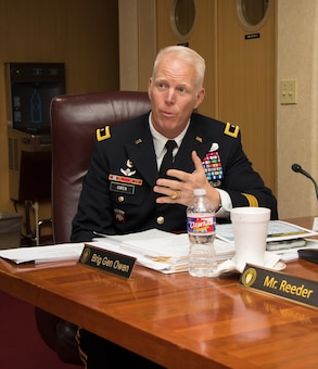 Brig. Gen. Paul Owen, Mississippi River Commission member, speaks during the annual low-water inspection and public hearing in Vicksburg, Mississippi, Aug. 22, 2018.