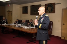 U.S. Army Corps of Engineers Maj. Gen. Scott  Spellmon, Deputy Commanding General for Civil and Emergency Operations, spoke during the Mississippi River Commission's annual low-water inspection and public hearing in Vicksburg, Mississippi, Aug. 22, 2018.