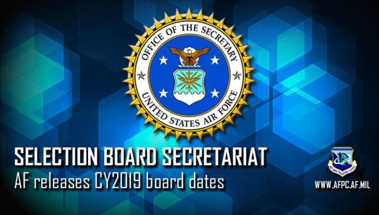 AF Secretariat releases 2019 selection board schedule