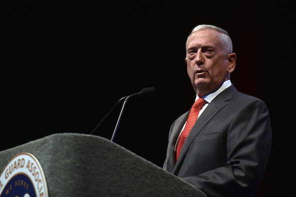 Secretary of Defense James Mattis addresses National Guard leaders at the National Guard Association of the United States 140th General Conference, New Orleans, Louisiana, Aug. 25.