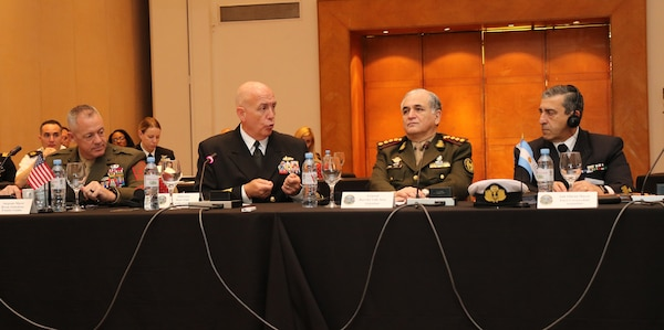 Adm. Kurt Tidd speaks in Argentina.
