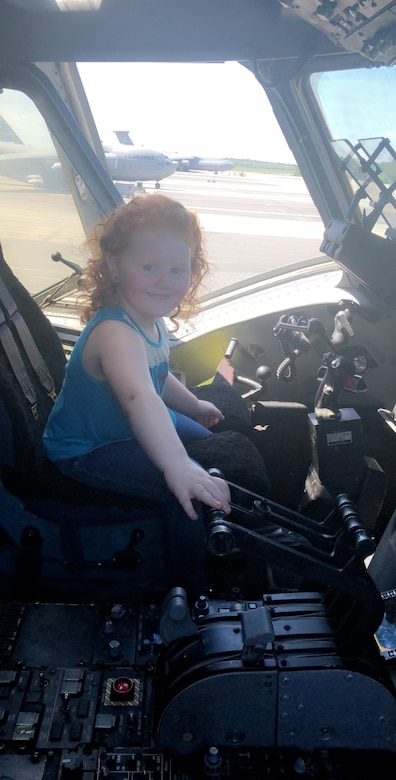 STEMspiration camper Grace Reynolds enjoys a visit to the flight deck of a C-17 Globemaster III Aug. 10, 2018, while visiting Joint Base Charleston, S.C., as part of the STEMspiration camp held by the Charleston County School District.