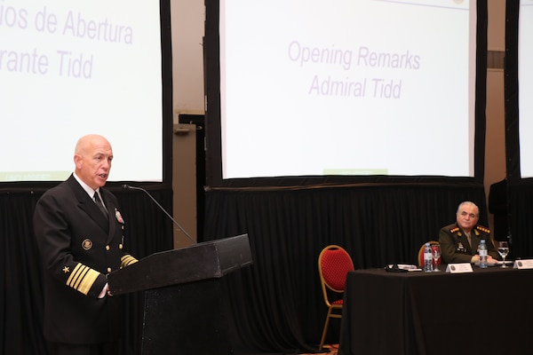 Adm. Kurt Tidd speaks in Argentina