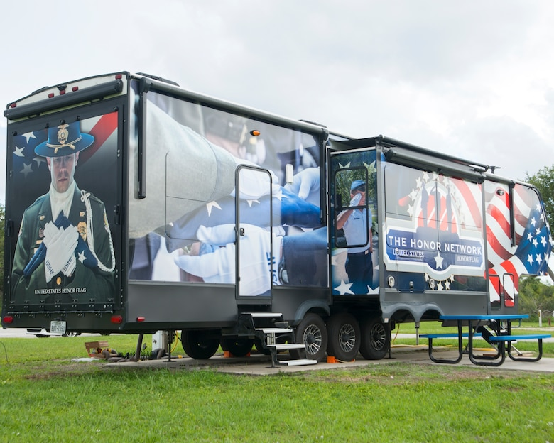The Honor Network trailer, owned by former U.S. Army Sgt. Chris Heisler, sits at FAMCAMP Annex on MacDill Air Force Base, Fla., August 10, 2018.