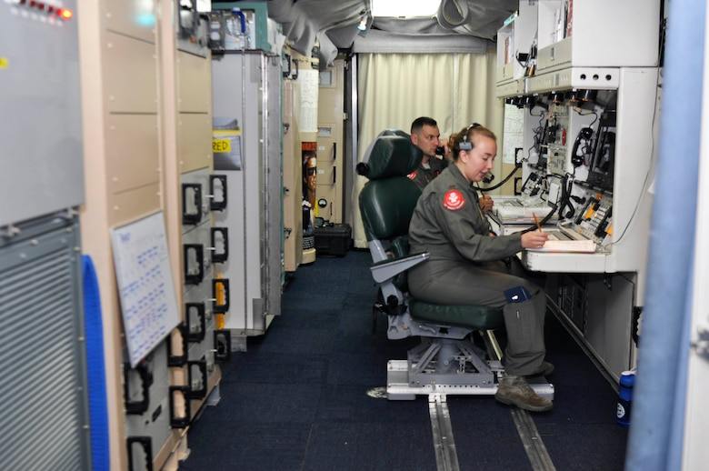 Missileers with the 320th Missile Squadron prepare for a Simulated Electronic Launch-Minuteman test inside a launch control center at a missile alert facility in the 90th Missile Wing missile complex, Aug. 21, 2018. Accomplishing the SELM validates these claims and increases the deterrent capability of the Minuteman III ICBM weapon system. (U.S. Air Force photo by Senior Airman Breanna Carter)