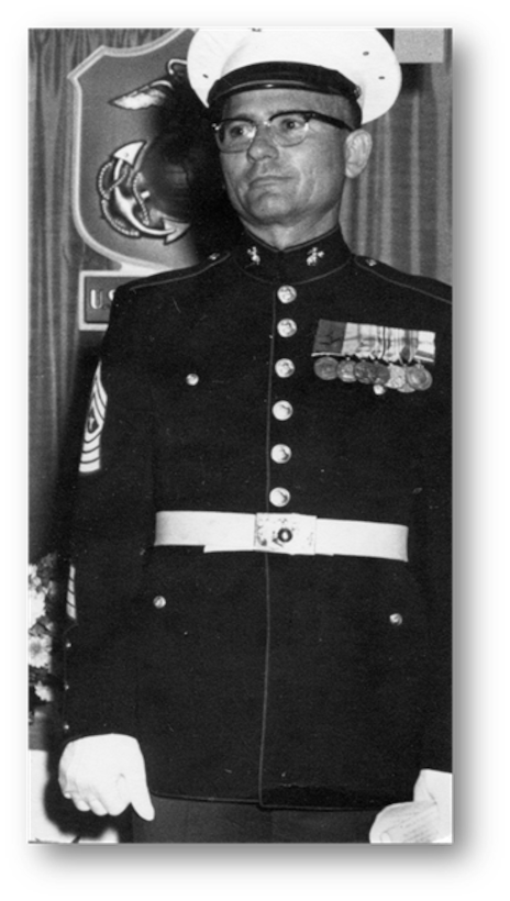 Barney Dobbs, uncle of John Moyes, the 28th Bomb Wing historian, served in the U.S. Marine Corps during World War II, the Korean War and the Vietnam war. After retiring as a Sergeant Major, he later returned to the Pacific region to serve as an advisor. (Courtesy photo)