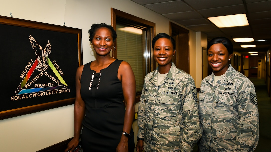 Jocelyn Williams, 51st Fighter Wing Equal Opportunity director, left, Master Sgt. Shalicia Wright, 51st FW EO superintendent, and Tech. Sgt. Shiantee Walton, 51st FW noncommissioned officer in charge of EO, pose for a photo on Osan Air Base, Republic of Korea, August 30, 2018. (U.S. Air Force photo by Staff Sgt. Benjamin Raughton)