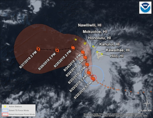 Satellite view of hurricane with HI locations labeled