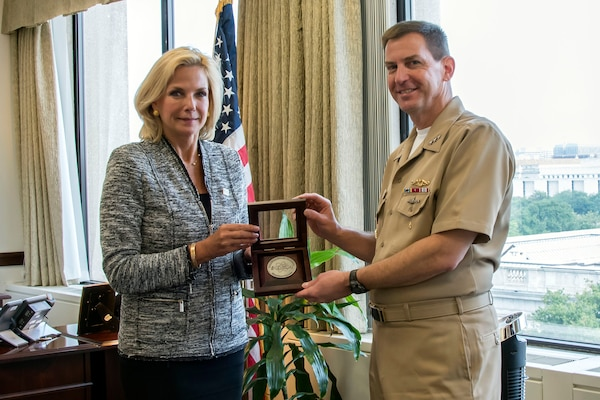 Lisa E. Gordon-Hagerty, the under secretary for Nuclear Security of the U.S. Department of Energy and administrator of the National Nuclear Security Administration (NNSA), presents U.S. Navy Vice Adm. David Kriete, the deputy commander of U.S. Strategic Command, with the Administrator's Distinguished Service Silver award during a ceremony at NNSA headquarters in Washington, D.C., Aug. 17, 2018.  Kriete received the award for his exceptional service as the Director of Strategic Capabilities Policy at the National Security Council from July 2016 to March 2018.