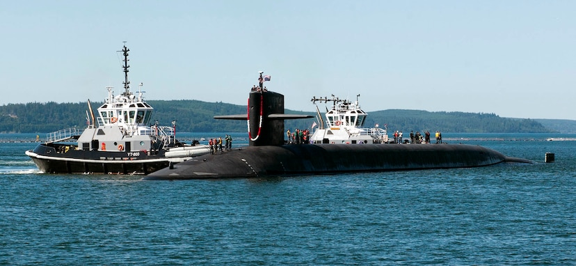 The Ohio-class ballistic missile submarine USS Nebraska (SSBN 739) returns home to Naval Base Kitsap-Bangor following the boats first strategic patrol since 2013. Nebraska recently completed a 41-month engineered refueling overhaul, which will extend the life of the submarine for another 20 years.