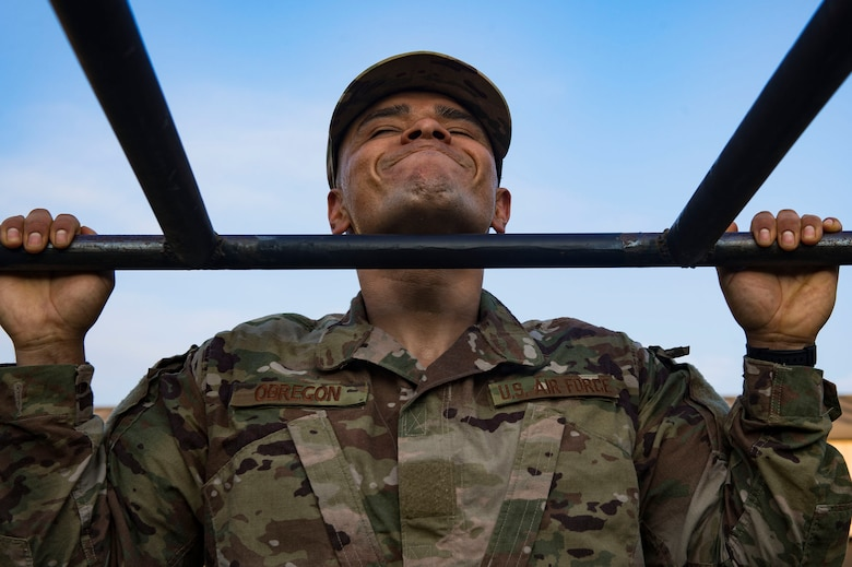 Tech. Sgt. Jose Obregon, 347th Operations Support Squadron independent duty medical technician, performs pull ups during a Pre-Ranger Assessment Course, Aug. 24, 2018, at Moody Air Force Base, Ga. Moody's 93d Air Ground Operations Wing hosted the three-day assessment which challenged approximately 20 Airmen from the 93d AGOW and 23d Wing on their physical fitness, land navigation skills, leadership qualities, water confidence and academic and tactical abilities under duress. The evaluation is designed to determine whether Airmen are ready to attend the Air Force Ranger Assessment Course held at Fort Bliss, Texas. (U.S. Air Force photo by Senior Airman Greg Nash)