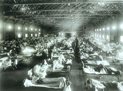 Soldiers suffering from influenza at the hospital in Camp Funston, Kansas, in 1918. Camp Funston was where the influenza epidemic which would kill more than 50 million people world-wide, including 675,000 Americans, first made a major appearance. Troops from the camp carried the virus to other Army bases during World War I.