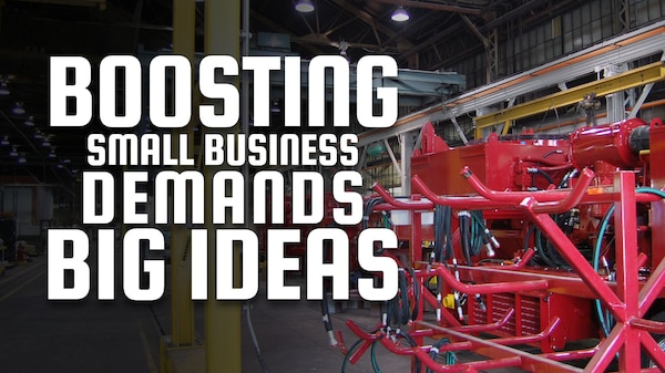 """Factory building with well-drilling equipment with the words """"Boosting small business demands big ideas"""" overlaid."""