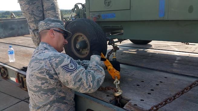 Tech. Sgt. James Baggott, 403rd Logistics Readiness Squadron vehicle control officer, along with other squadron members supported Patriot Warrior for 20 days in August 2018 at Volk Field Air National Guard Base and Total Force Training Center Fort McCoy, Wisconsin. Patriot Warrior is an Air Force Reserve Command exercise that provides an opportunity for Reserve Citizen Airmen to train with joint and international partners in airlift, aeromedical evacuation and mobility support operations. (U.S. Air Force photo)