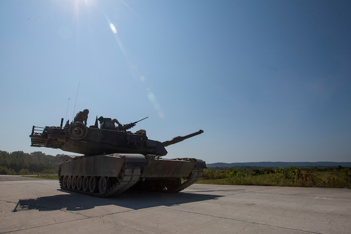 A crew of Marines from 4th Tank Battalion leave Wilcox range after competing in the 15th annual Tiger Competition, Aug. 28, 2018 in Fort Knox, Kentucky. The competition highlights the critical and quick-reacting combat skills of the participating battalions. (U.S. Marine Corps photo by Lance Cpl. Tessa D. Watts)