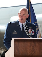 Col. Michael Manion, 55th Wing commander, provides remarks August 28, 2018 inside an aircraft hangar at Offutt AFB, Nebraska during an event celebrating a more than $1 million investment by the U.S. Department of Defense to STEM education in the Bellevue Public Schools system, which is the nearest community to Offutt AFB. The award is part of the National Math and Science Initiative that promotes STEM education at more than 200 U.S. schools that have significant enrollment among military-connected students. (U.S. Air Force photo by Delanie Stafford)