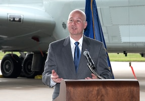 Nebraska Gov. Pete Ricketts provides remarks August 28, 2018 inside an aircraft hangar at Offutt AFB, Nebraska during an event celebrating a more than $1 million investment by the U.S. Department of Defense to STEM education in the Bellevue Public Schools system, which is the nearest community to Offutt AFB. The award is part of the National Math and Science Initiative that promotes STEM education in more than 200 U.S. schools that have significant enrollment among military-connected students. (U.S. Air Force photo by Delanie Stafford)