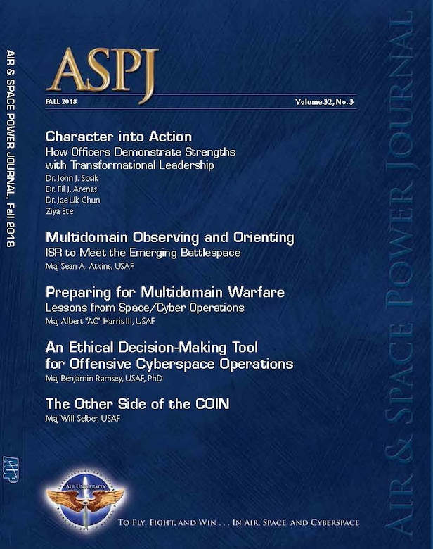 The Fall 2018 Air and Space Power Journal, published by Air University Press, is available at https://www.airuniversity.af.mil/ASPJ//. (Courtesy Photo)