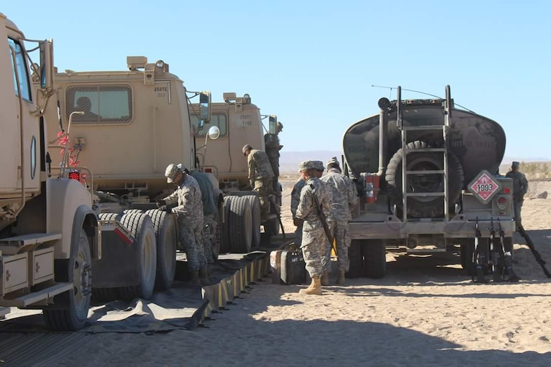 Soldiers with the 250th Transportation Company fuel up during Exercise Maple Resolve.