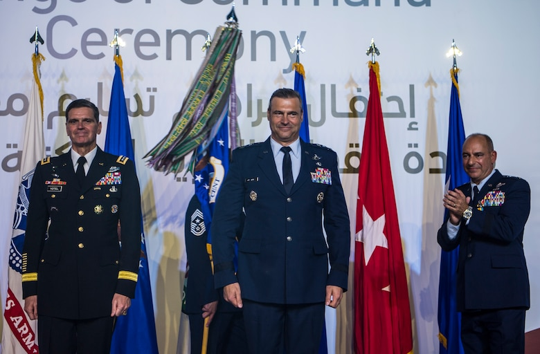 U.S. Army Gen. Joseph L. Votel, Commander of U.S. Central Command (CENTCOM), stands with U.S. Air Force Lt. Gen. Joseph T. Guastella Jr., Commander of U.S. Air Forces Central Command (AFCENT), and Air Force Lt. Gen. Jeffrey L. Harrigian, outgoing AFCENT commander, during a change of command ceremony at Al Udeid Air Base, Qatar, Aug. 30, 2018. Guastella entered the Air Force in 1987 as a graduate of the U.S. Air Force Academy. He has flown the F-16 Fighting Falcon and A-10 Thunderbolt II, served as the wing commander of the 455th Air Expeditionary Wing at Bagram Airfield, Afghanistan, has had multiple combat tours and instructed at the U.S. Air Force Fighter Weapons School. (U.S. Air Force photo by Senior Airman Xavier Navarro)