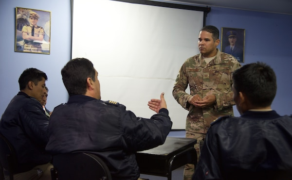 Tech. Sgt. Carlos Martinez-Hernandez, 571st Mobility Support Advisory Squadron, guides a discussion in the aircraft maintenance leadership course at Las Palmas Air Base in Lima, Peru. The course served as an avenue for cross-talk and sharing of best practices between different aircraft maintenance units. (courtesy photo)