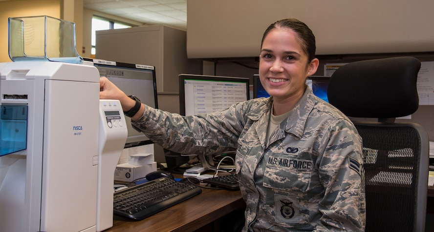 Airman 1st Class Gabriela Keefe, 375th Security Forces Squadron line badges, is this week's Showcase Airman.