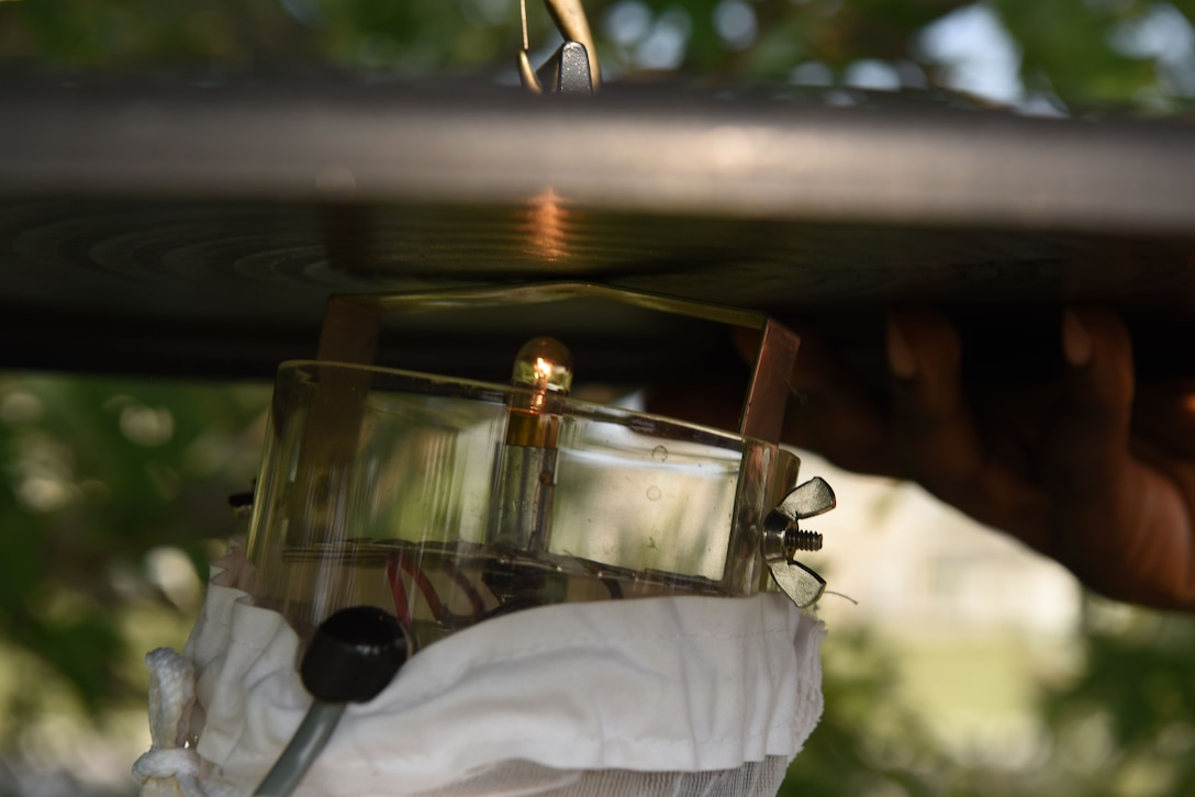 A trap is readied to collect mosquito specimen at Ellsworth Air Force Base, S.D., Aug. 13, 2018. Members assigned to the 28th Medical Group public health flight capture mosquitoes on a continuous basis to be sent off and tested for diseases, such as the West Nile virus. (U.S. Air Force photo by Airman 1st Class Thomas Karol)