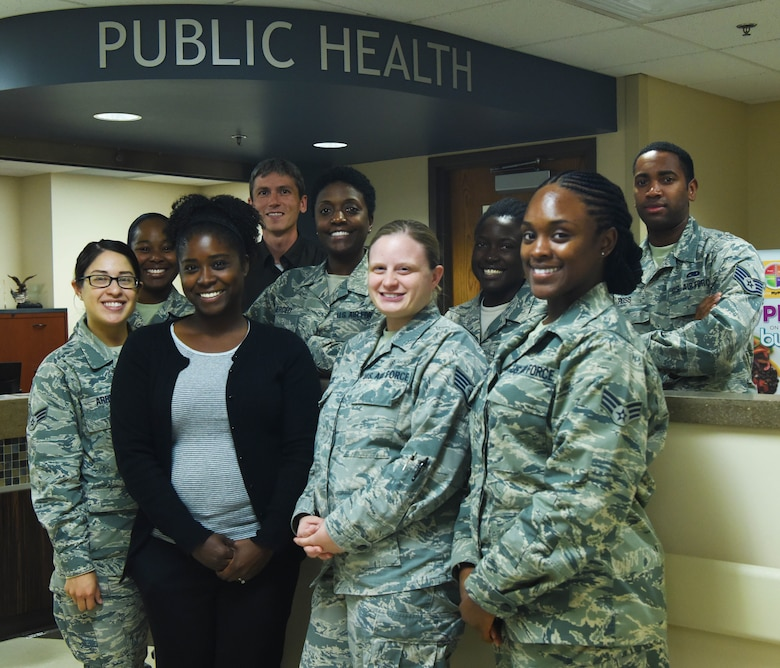 Members assigned to the 28th Medical Group public health flight stand in front of their office at Ellsworth Air Force Base, S.D., Aug. 28, 2018. The public health flight continuously captures local mosquito samples that are sent out and analyzed for diseases by the U.S. Air Force School of Aerospace Medicine at Wright-Patterson AFB, Ohio. (U.S. Air Force photo by Airman 1st Class Thomas Karol)