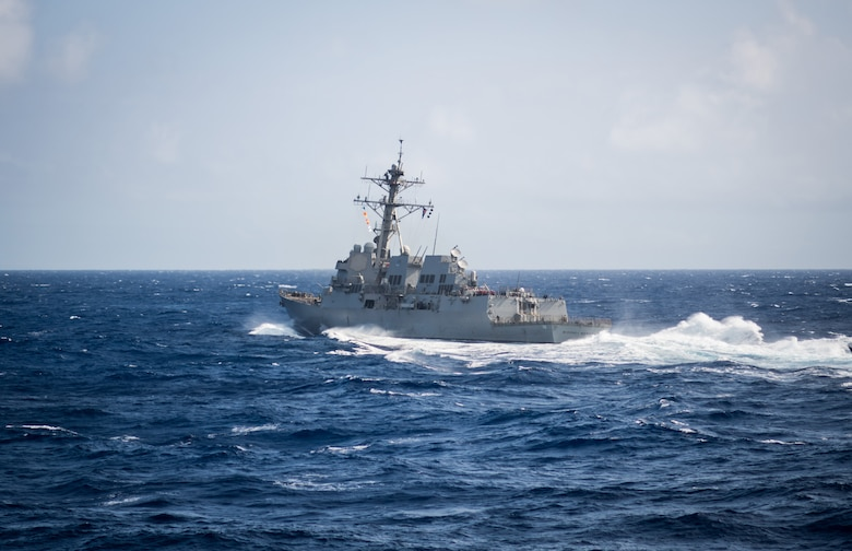 PACIFIC OCEAN (June 28, 2018) – The guided-missile destroyer USS Michael Murphy (DDG 112) transits the Pacific Ocean following to a replenishment-at-sea while underway in the U.S. 3rd Fleet area of operations.