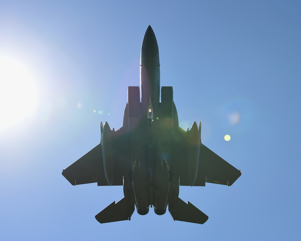 An F-15C Eagle assigned to the 493rd Expeditionary Fighter Squadron flies over Keflavik Air Base, Iceland, Aug. 6, 2018, in support of NATO's Icelandic Air Surveillance mission. While providing critical infrastructure and support, Iceland has looked to its NATO allies to provide airborne surveillance and interception capabilities to meet its peacetime preparedness needs since 2008. (U.S. Air Force photo/Staff Sgt. Alex Fox Echols III)