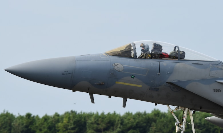 An F-15C Eagle assigned to the 493rd Fighter Squadron lands at Royal Air Force Lakenheath, England, Aug. 23, 2018. Throughout the NATO Icelandic Air Surveillance mission the squadron, designated as the 493rd Expeditionary Fighter Squadron during its deployment maintained a constant, vigilant alert status, poised to launch jets at a moment's notice to intercept any unidentified aircraft encroaching on the protected airspace. (U.S. Air Force photo/Staff Sgt. Alex Fox Echols III)