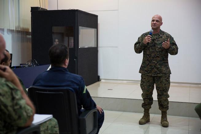 U.S. Marine Maj. Gen. David G. Bellon speaks.