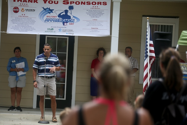 Col. Timothy P. Miller, commanding officer of Marine Corps Air Station Beaufort, speaks to attendants of a military appreciation day on Laurel Bay, Aug. 25. The event was held to foster cohesion between the Tri-command and the local community.