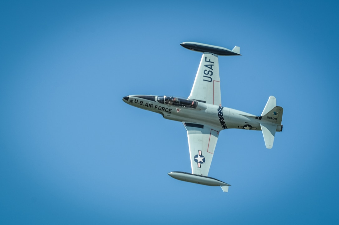 A T-33 Shooting Star aircraft flies overhead during the Sound of Speed Airshow at Rosecrans Air National Guard Base, St. Joseph, Mo., August 26, 2018. The air show was hosted by the 139th Airlift Wing, Missouri Air National Guard and the city of St. Joseph to thank the community for their support. The air show committee estimated 45,000 people attended the Saturday performance. (U.S. Air National Guard photo by Staff Sgt. Patrick Evenson)