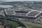 An aerial view of the Pentagon building.