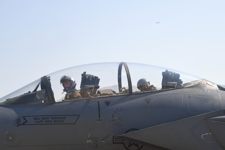 Maj. Nick Tsougas and Capt. Wes Noyes, 389th Fighter Squadron, return training mission Aug. 15, 2018, at Hill Air Force Base, Utah. F-15E Strike Eagles and Airmen from the 389th FS at Mountain Home AFB, Idaho, were at Hill AFB to participate in the Air Force's Weapons System Evaluation Program known as Combat Hammer. (U.S. Air Force photo by Todd Cromar)