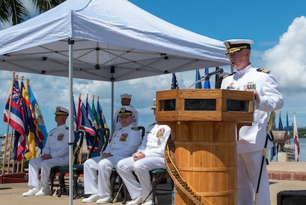 PEARL HARBOR (Aug. 31, 2018) - Cmdr. Brian Turney addresses guests during the change of command ceremony of the Los Angeles-class fast-attack submarine USS Chicago (SSN 721) at the USS Bowfin Submarine Museum and Park in Pearl Harbor, Hawaii, Aug. 31. (U.S. Navy photo by Mass Communication Specialist 2nd Class Shaun Griffin/Released)